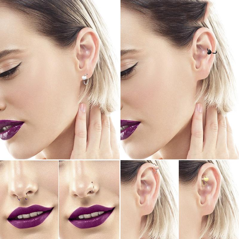 New Fashion Nose Rings Body Piercing Jewelry Women Lady Stainless Steel Nose Studs Open Hoop Rings Earrings Stud Perfect Gift