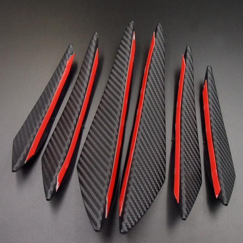 Fibra di carbonio nera dell'automobile che designa gli accessori Paraurti anteriore labbro in gomma Fin Splitter Spoiler Canard Valence Sticker