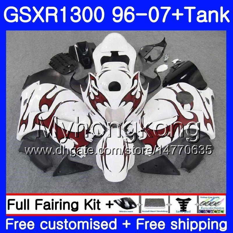Corpo para a Suzuki Hayabusa GSXR 1300 GSXR1300 96 97 98 99 00 01 07 333HM.23 GSX Red chamas R1300 1996 1997 1998 1999 2000 2001 2007 Fairing