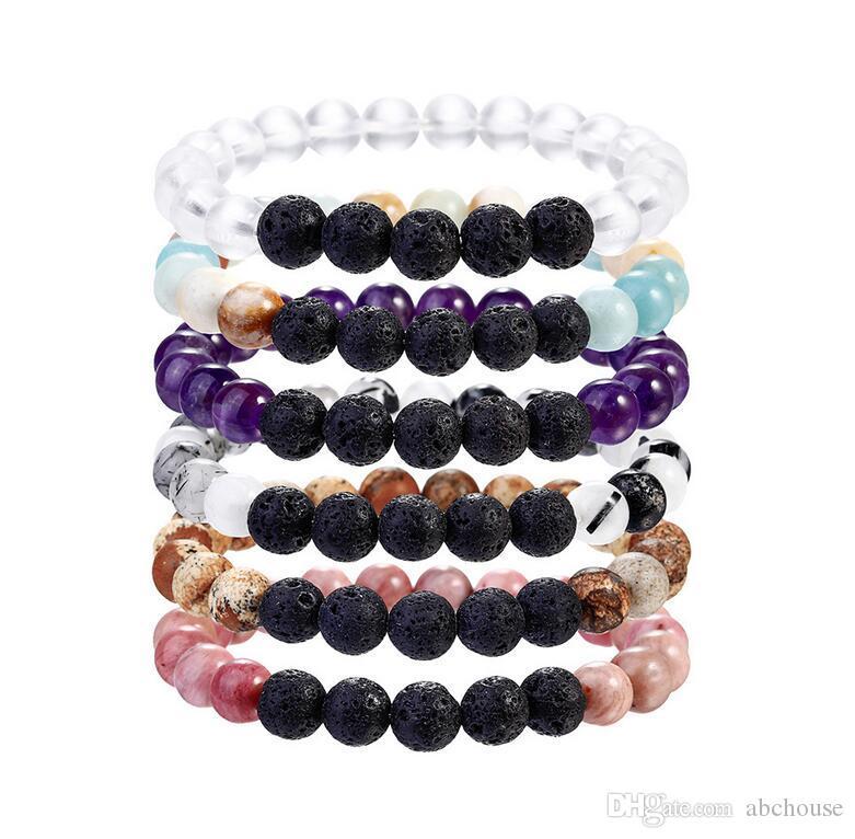 6 cores vulcão lava rocha difusor frisado pulseiras moda pedra natural charme jóias punk chakra cura pulseira turquesa