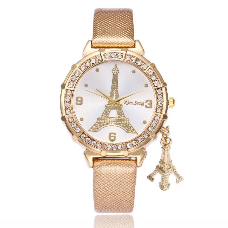 2020 Moda colgante de la torre Eiffel mujeres de los relojes cuero de las señoras Relojes mejor regalo banda de cuarzo reloj ocasional