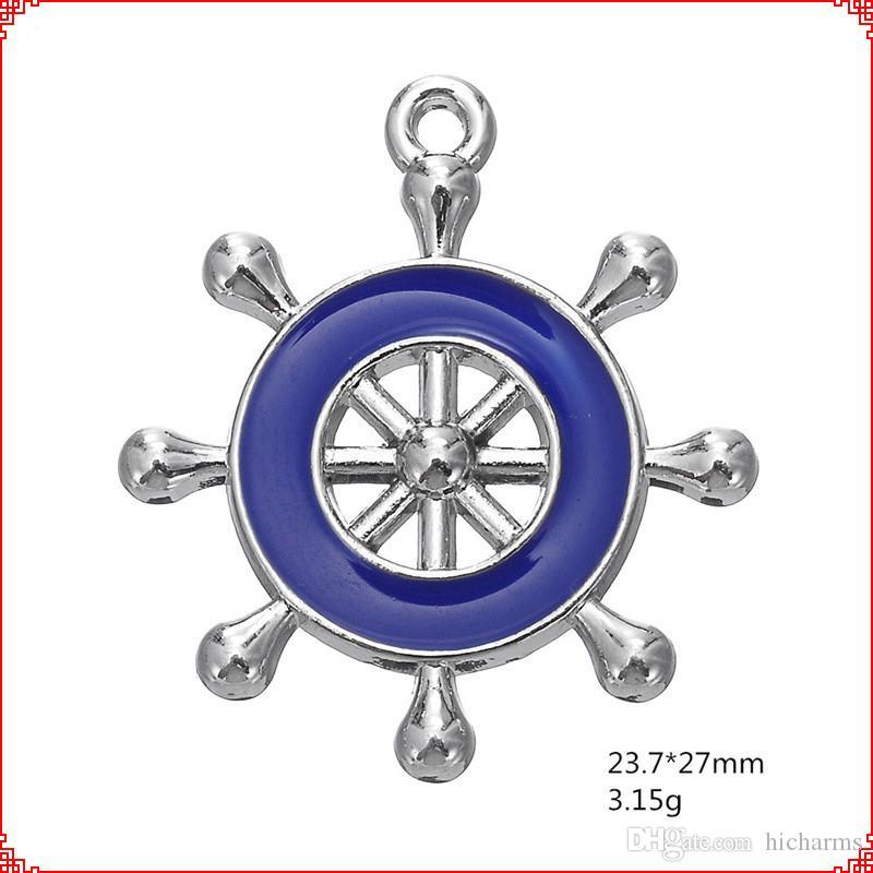 30pcs Europeia leme do navio Moda esmalte Marinha Marinha encantos Ruder esportes liga pingentes de colar pulseira brinco fazer jóias diy