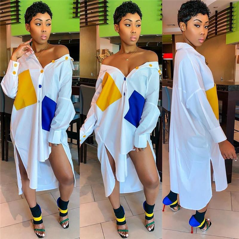 Plus Size femmes Designer Robes Fashion Casual lambrissé poches femmes Asymétrique Robes chemise Vêtements pour femmes