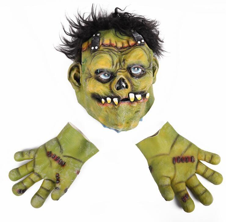 Maschera horror di Halloween Maschera facciale di Halloween Maschera per adulti Decorazione per feste Puntelli faccia verde Maschera horror in lattice pieno facciale LXL406