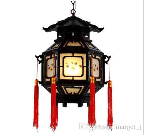 OOVOV Chinese Style Palace Lanterns Chandelier Waterproof Indoor Outdoor Balcony Corridor Tea House Wood Pendant Lamp