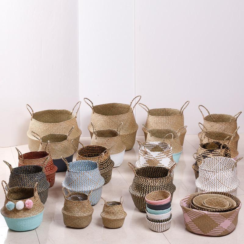 Non Bamboo Natural Seaweed Woven Basket Mulit Colors Desk Planter Pots Foldable Handmade Flowerpot Garden Supplies Customizable DBC BH3206