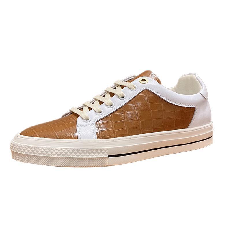 Yüksek Grade Erkekler Sneaker Günlük Ayakkabılar Moda Akıllı Platformu Eğitmenler Kaymaklı Beyaz Deri Ayakkabı Casual Düşük üstü Ayakkabı Koşu Size6-10 Type6