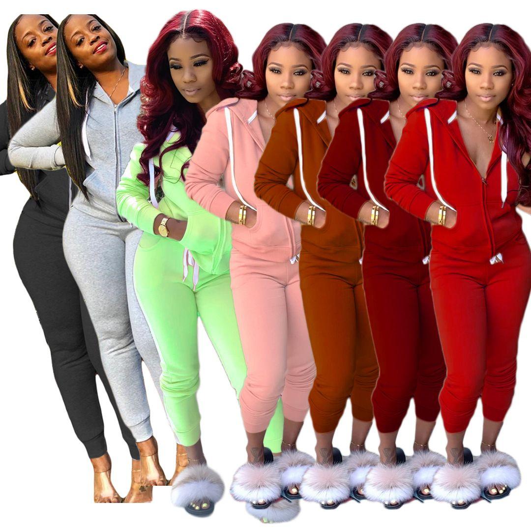 L'ensemble de 2019 femmes d'hiver Femmes Survêtement Plein manches Hoodied Sweat poches Pantalons Costume Set deux pièces Tenues sweatsuit
