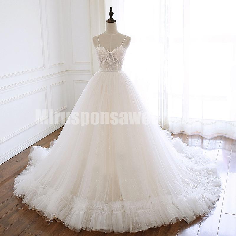 Romântico vestido de baile Vestido de Noiva Tulle Venda Cascading Ruffles Saia Spaghetti Strap vestido de casamento Top Beading vestido de casamento vestidos