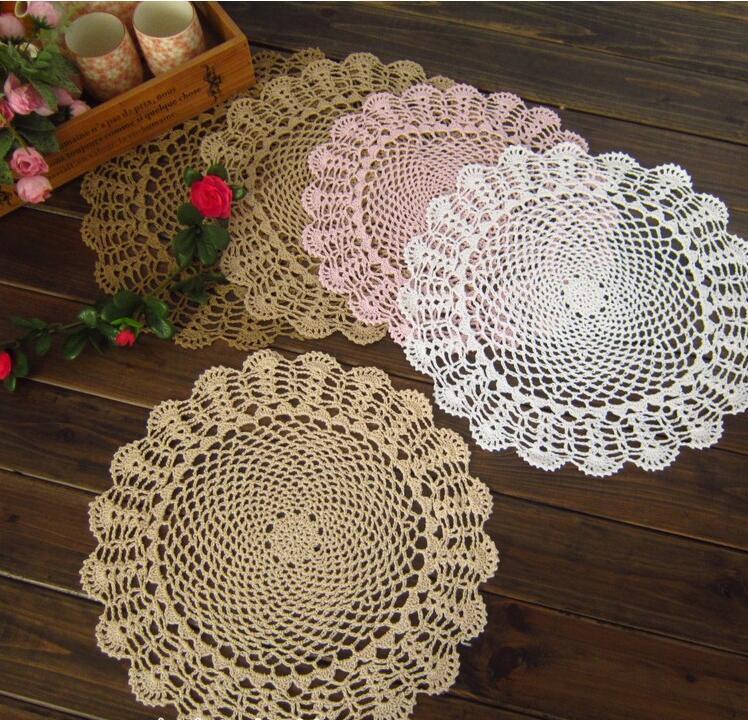 40cm DIY Round lace cotton table place mat cloth crochet placemat pad coaster cup mug Christmas doily kitchen wedding decor R173 D19010902