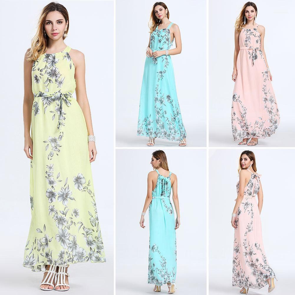 Abiti Moda girocollo arco irregolare abito 2020 del progettista delle donne del vestito floreale Summer Slim maniche Stampa