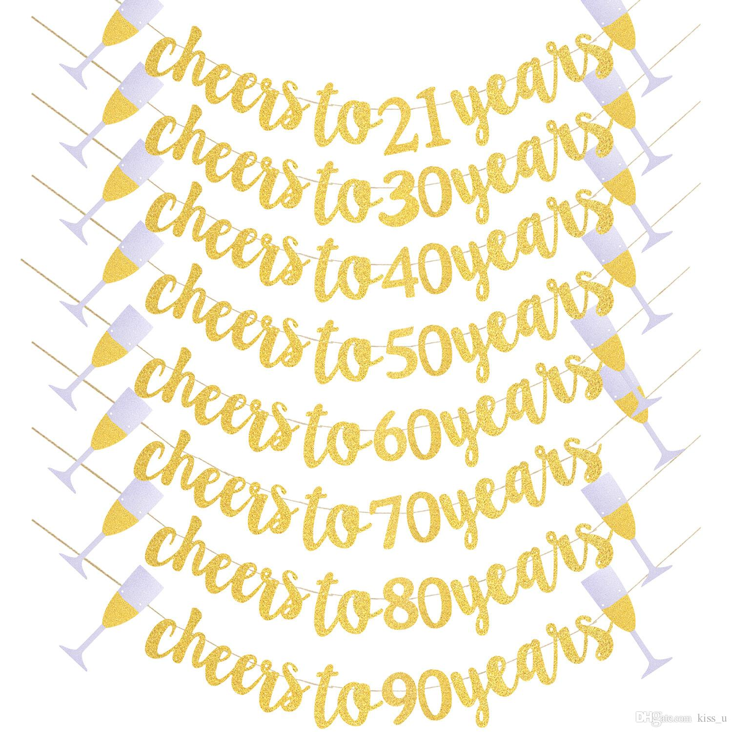 birthday party decorations for cheers to 21 years banner happy birthday gold sign wedding anniversary party decor supplies