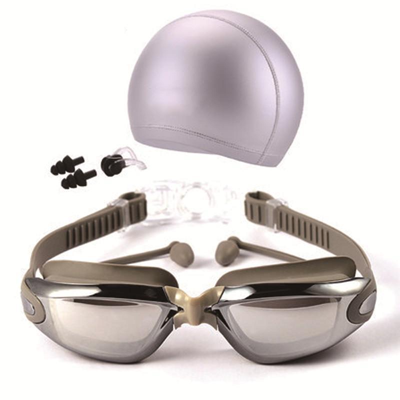 Плавать очки с Cap зажим для носа Штекер уха взрослых Anti-Fog Soft Удобный Безопасный Прочный портативный HD Зеркальный бассейн Set # 290272