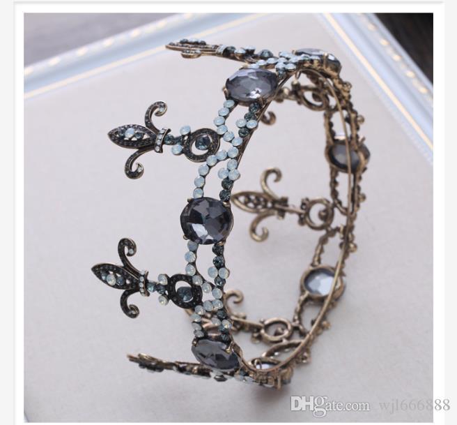 Europeu e americano barroco coroa liga jóias com diamantes de cristal de alta qualidade