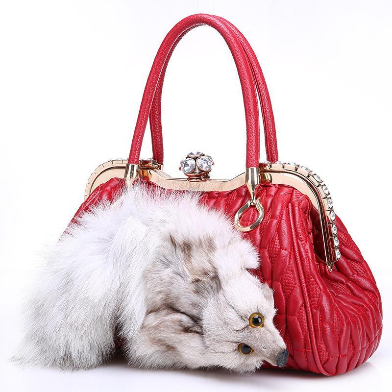 Distinctive2019 Head Fox Extravagant Baby Genuine Sheepskin Woman Winter All-match Diamond Portable Leather And Fur Package
