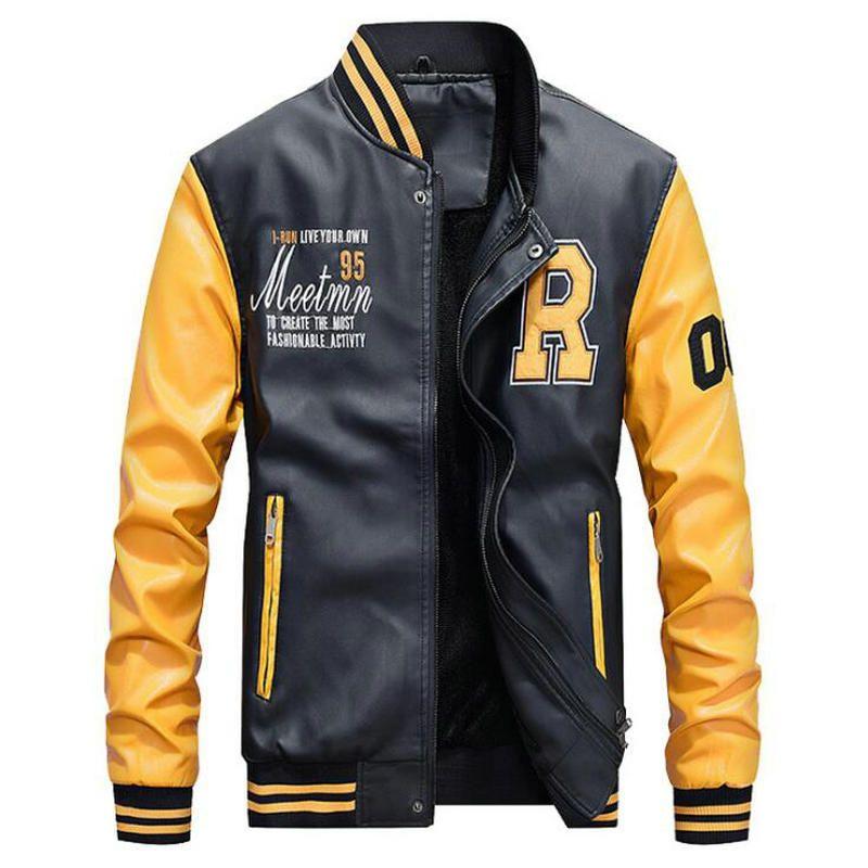 Veste d'hiver Homme broderie de base-ball Vestes en cuir Pu Manteaux Slim Fit College Toison pilote Vestes en cuir Casaco Masculino