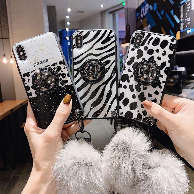 Bling Epoksi Altın Folyo Leopar ile Elmas Yüzük Tutucu İpi Yumuşak TPU Darbeye Kılıf iPhone 11 Pro XR XS Max X 8 7 6 6S Artı için