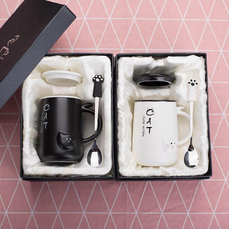 Pareja taza 400Ml linda que bebe Cat Cafe taza de café grande Estilo Capacidad Jugo Leche de cerámica desayuno tazas de té Vasos de agua T200506