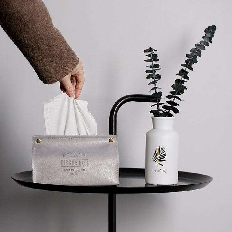 Nordic Leather Tissue Box Nakin Paper Bag Napkin Tissue Holder Paper Dispenser Tissue Case For Car Office Home Hotel Table Decor