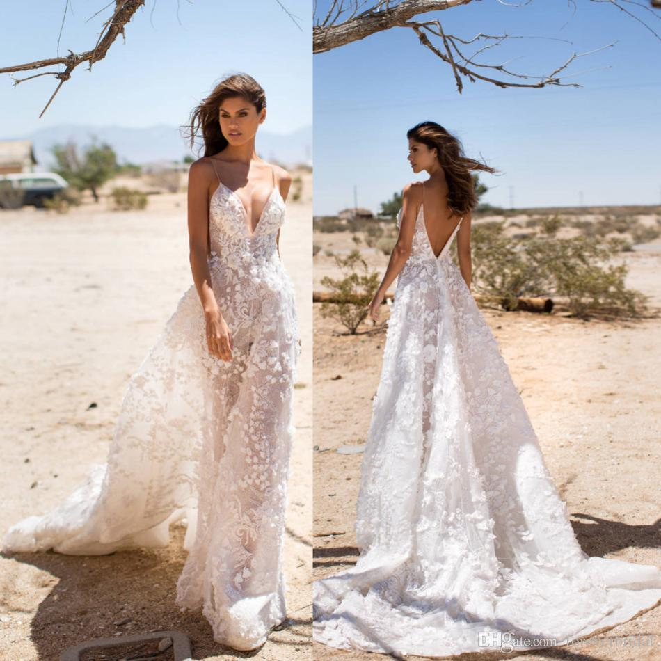 Elegant Tulle A Line Wedding Dresses Boho Spaghetti Deep V Neck Sweep Train Bridal Gowns Sexy Backless Lace Applique Dress
