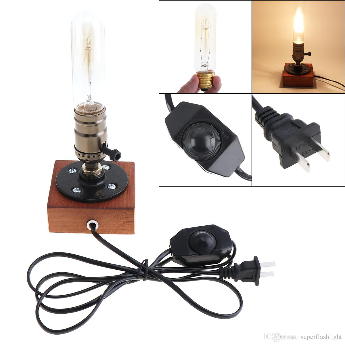 Retro Style Vintage Industrial Single Socket Table Bedside Desk Lamp Wooden Base Creative Edison Light Bulb Home Shop Decoration LEG_40E