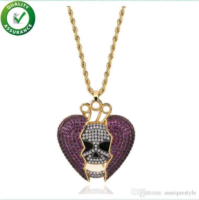 Hip Hop Designer Jewelry Luxury Pendant Boys Iced Out CZ Diamond Skeleton Pendants for Men with Rope Chain Broken Heart Wedding Accessories