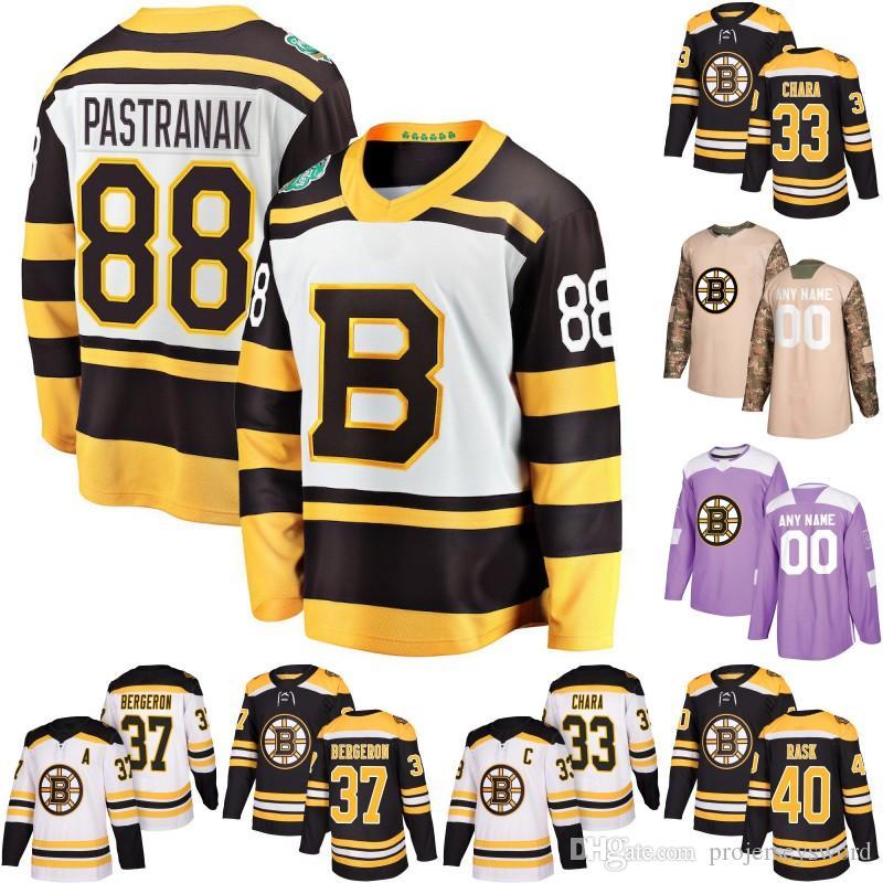 보스톤 Bruins 저어지 찰리 Coyle 33 Zdeno Chara 17 Ryan Donato 40 Tuukka Rask 63 Brad Marchand Marcus Johansson Hockey Jerseys