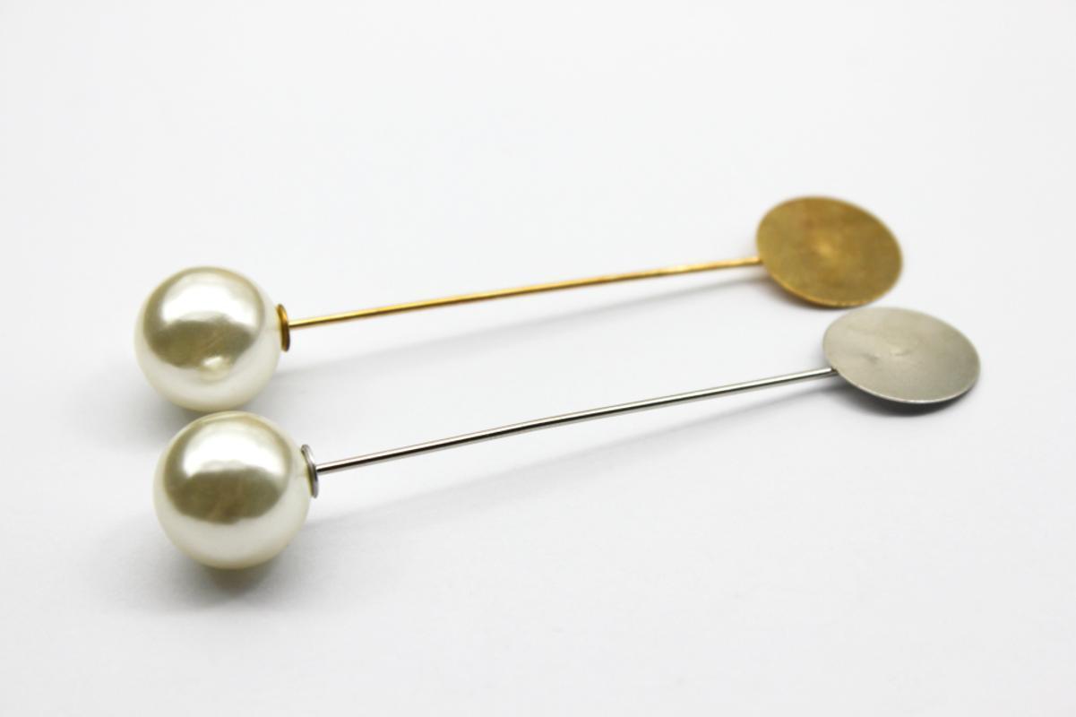 보석 연구 결과에 대한 2 개 브로치 핀 자료 앤틱 골드 실버 비즈 빈 설정 맞는 15mm 유리 카보 숑 공급