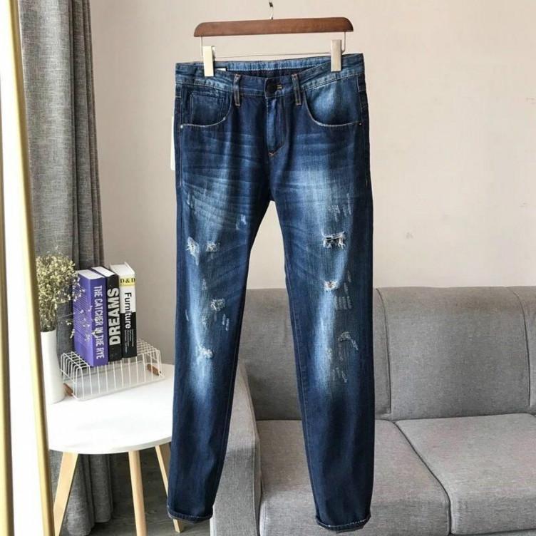 Erkekler Kış Denim Pantolon Sonbahar Jeans Distrressed Delik Tasarımcı Bahar Marka Pantolon Klasik İnce Jeans Erkek Sıcak Satış Pantolon 7 Boyut Yıkanmış