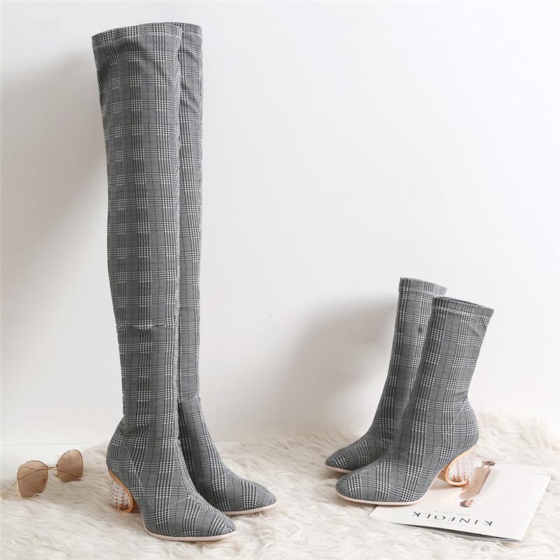 Sıcak Satış Sonbahar Çorap Çizme Kadınlar Temizle Özel Topuk Stretch Kumaş Üzeri Diz Kış Ayakkabı Karışık Renkler şemsiye Uzun Çizme Kısa botas