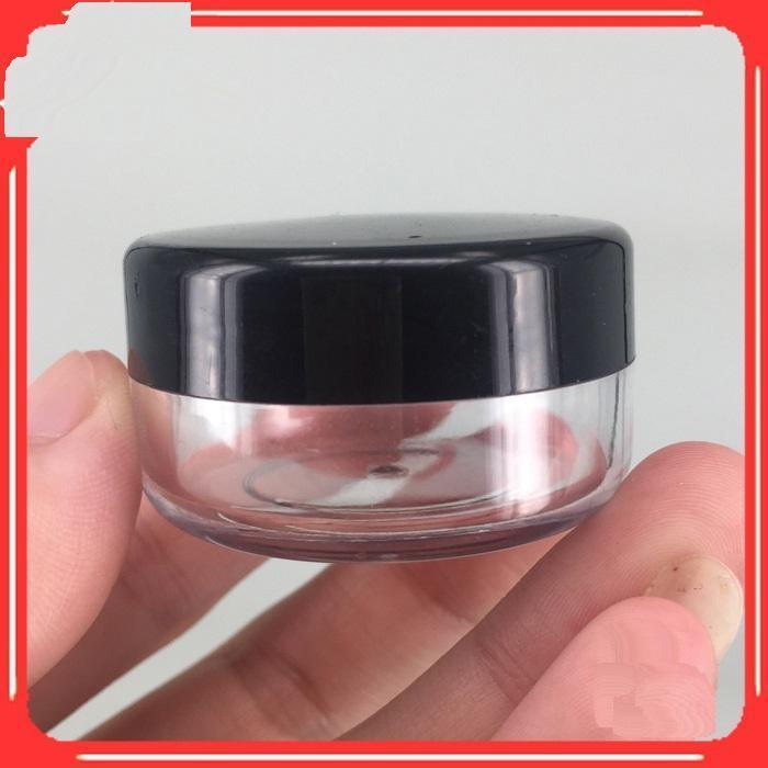 Pudra Makyaj Krem Losyon Dudak Parlak Kozmetik Örnekleri 5000pcs için 5G 5ML Plastik Boş Temizle Konteyner Kavanoz Pot ile Siyah Kapaklar