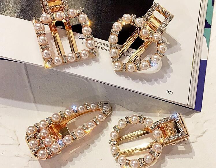 Women fashion New rose gold hair Jewelry Pear crystal Hair Clips Bridal headdress Girl bangs clip female Hairpin Barrettes 1 pcs wholesale