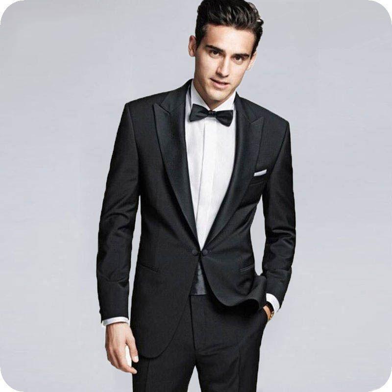 Neueste Peak Designs Schwarz Bräutigam Smoking Herren Anzüge für Hochzeit 2 Stück (Mantel + Hose) Kostüm Homme Slim Fit Terno Masculino Trajes de hombre