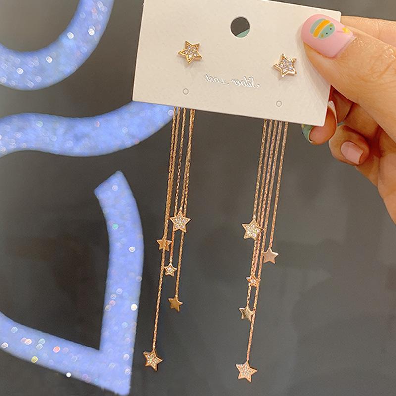 S1180 موضة ساخنة مجوهرات S925 الفضة المشاركة أقراط نجوم الشرابة استرخى وأقراط