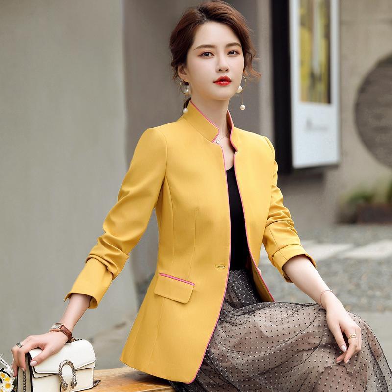2020 New Design Fall Winter Blazer Women's Single Button S-4XL Slim Stand Collar Yellow Pink Black Elegant Ladies Blazer Jacket
