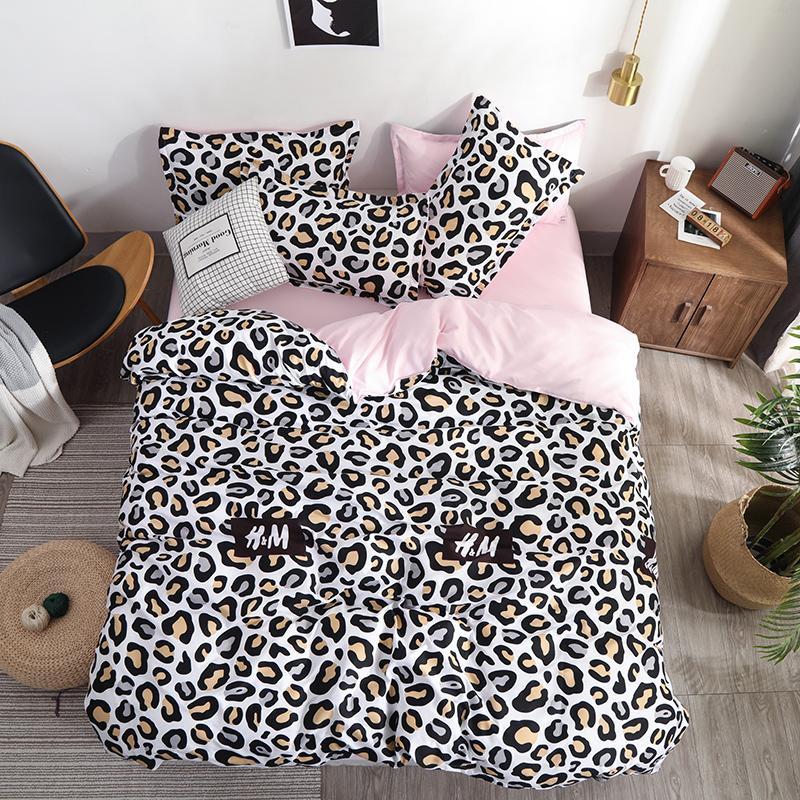 Dropshipping 2/3/4pcs King Size Bedding Sets Leopard Print Include Bed Sheet Duvet Cover Pillowcase bear children boy gife T200409