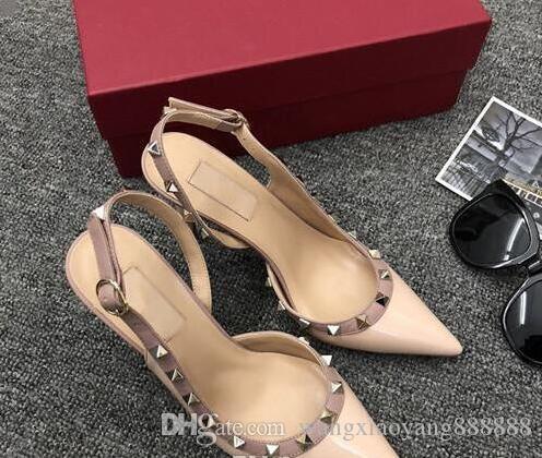 Горячие продажи дизайнер заостренный носок туфли на высоком каблуке кожаные сандалии женщин рок заклепки гвоздь Мозаика шнурках носить насос + коробка