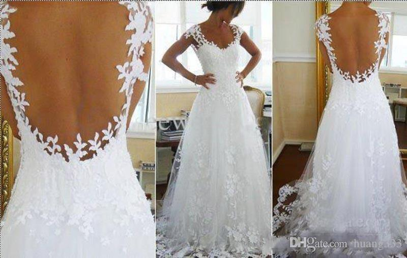 2019 New Nicest Wedding Dresses Ever A-line V Neck Sheer Panel Back Court Train Bridal Gowns (Get One Petticoat/Petticoat for free) 1223