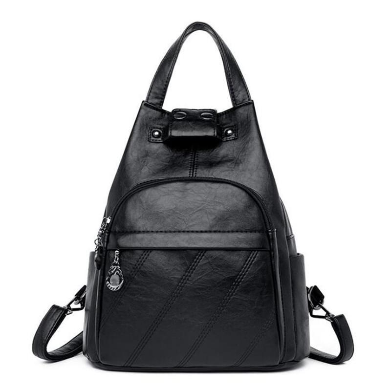 Women PU Leather Backpack For Teenage Girls School Bags on Vintage Black Shoulder Bag