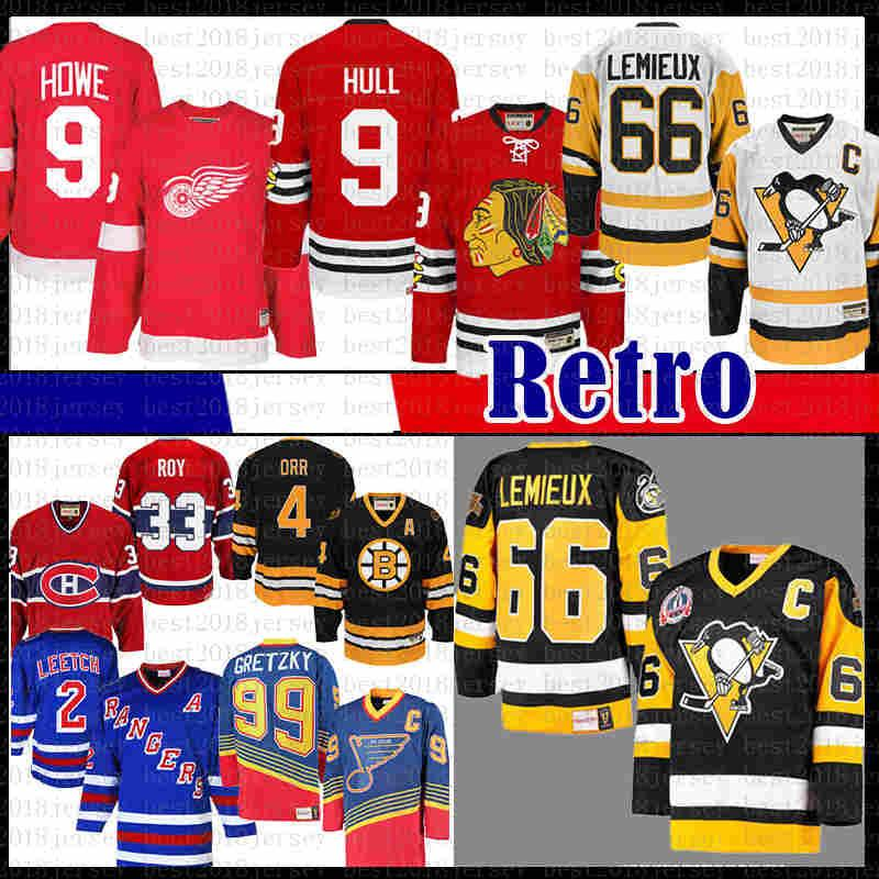 Mens CCM 9 Mens Bobby Hull Chicago Mario Lemieux 66 Pittsburgh Pinguins Hóquei Jersey Blackhawks Gordie Howe Detroit Red Wings Jerseys