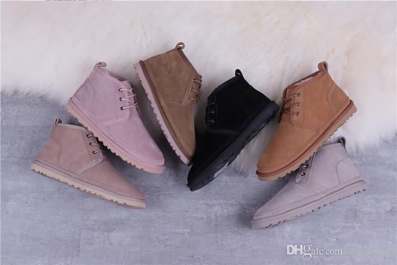 Männer Boots NEWM Series Straps beiläufige Warm Mini Stiefel Frauen Winter-Wolle-Schuh Stiefel Neumel Wildleder Stiefel Kastanie Größe US35-US40