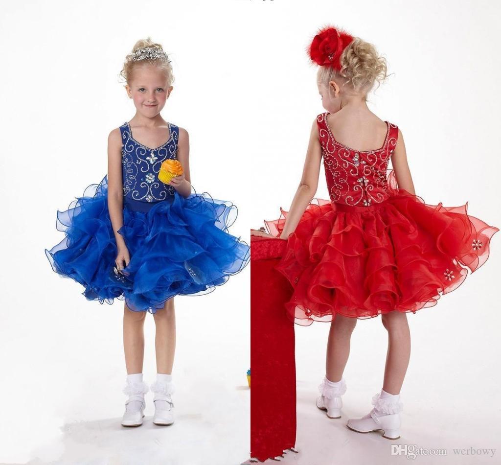 2020 Custom Made Coupe Bleu Royal Pageant robes gâteau fait main rouge de Noël robes en organza court Pageant robe de perles en cristal HY1346