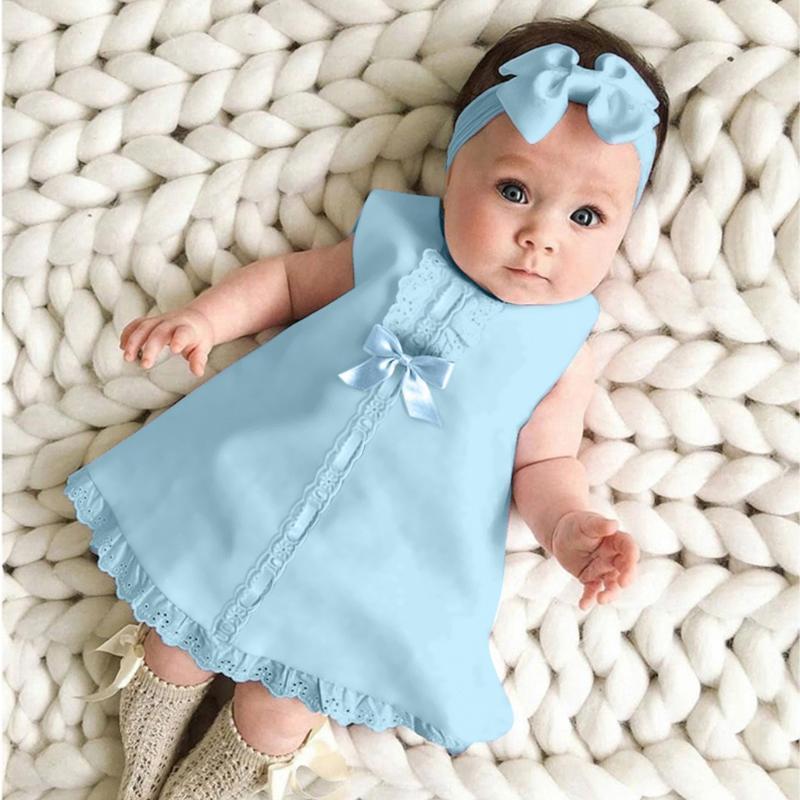 Yaz Yenidoğan Bebek Kız bebekler Kolsuz Katı Renkler Casual Dantel ilmek Parti Prenses Elbise + Kafa Kıyafetler Giyim # p4