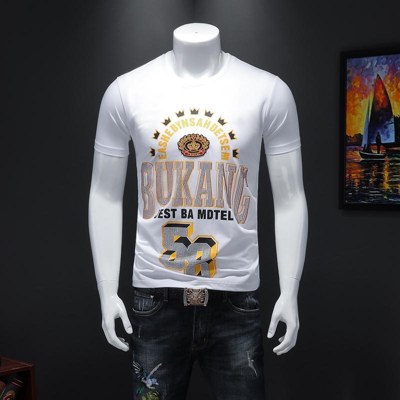 2020 мужские летние новые коронные вышитыми буквами горячий алмаз с короткими рукавами футболки Тонкий чистый красный мерсеризированный хлопок дикий футболки мужчин