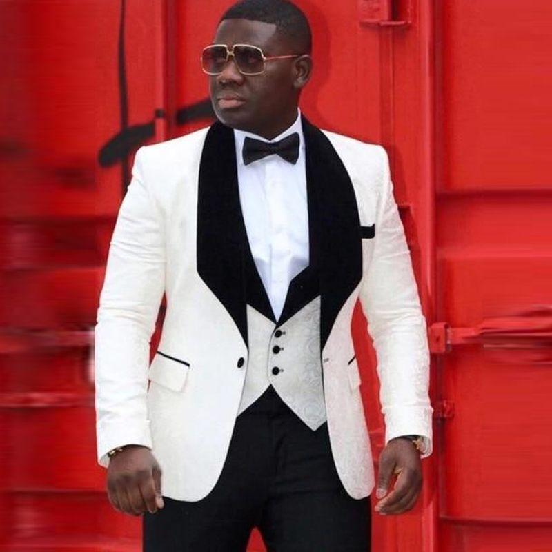 2019 Terno do casamento branco dos homens Africano para noivo jaqueta + calça + colete terno preto lapela do noivo do smoking do Groomsman para o casamento