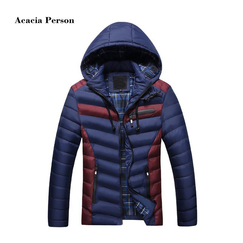 2018 Autumn Winter Fashion Hood Padded Quilted Headset Men Jacket Coat Warm Male Jackets Parka Hooded Casual Wadded Outerwear