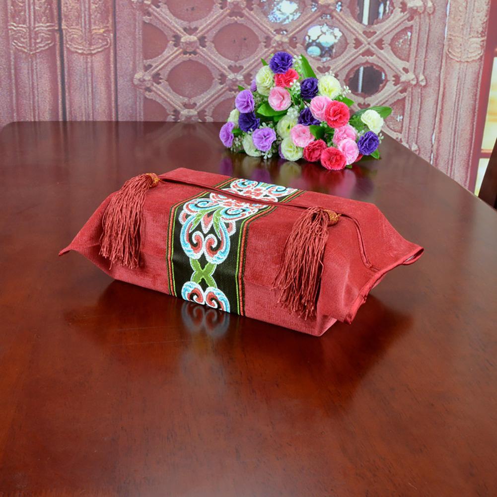 Salle de mariage Maison Tissue Box Holder Stockage décoratif broderie Hôtel Lavable style européen Salle de bain Couverture Corduroy Cuisine