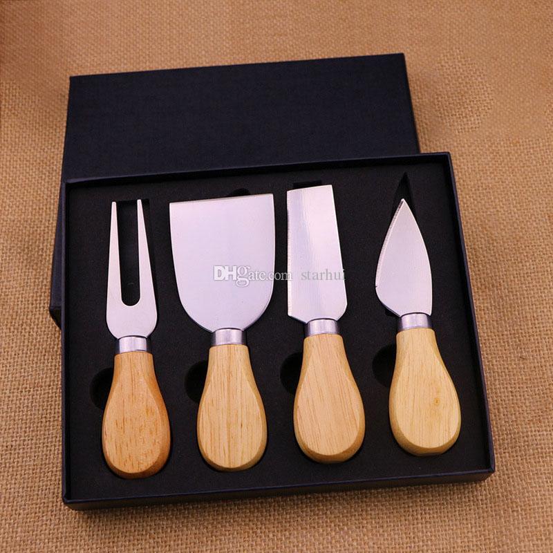 4PCS / الكثير أدوات الجبن مجموعة اوك مقبض سكين شوكة المجرفة كيت المباشر المطبخ قطع الخبز الجبن مجلس مجموعات زبدة بيتزا القطاعة DHL WX9-1776