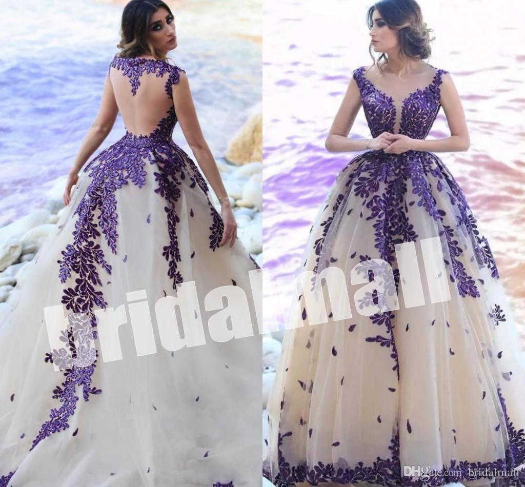 Шампанское тюль Саудовская Аравия вечерние платья 2019 кафтан Дубай длинное платье выпускного вечера фиолетовый кружева аппликация женщины вечерние платья халаты де суаре