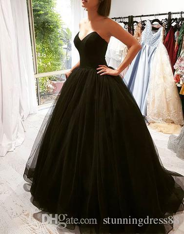 Compre Sencillo Negro Barato Largo Quinceañera Vestidos De Baile 2019 Vestido De Gala Cariño Corsé Tul Sin Espalda Barato Dulce 16 Vestido Vestidos 15